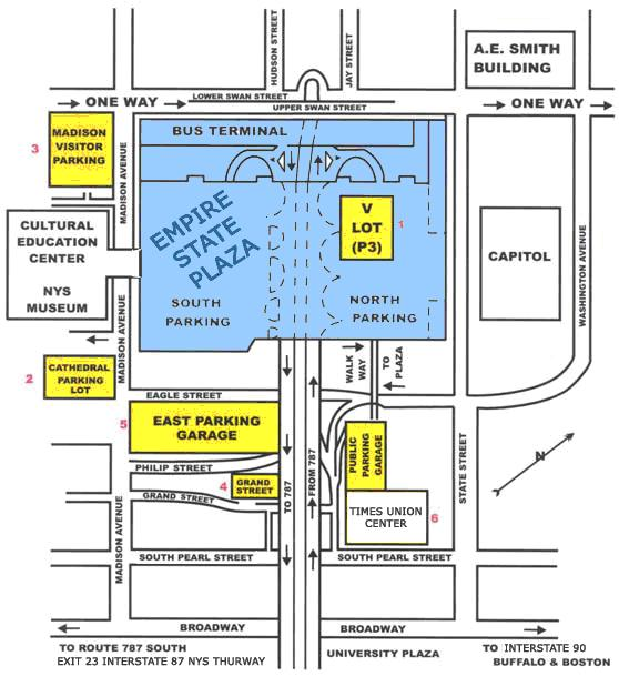 map of nys with Parking And Around Empire State Plaza on 44219 besides Parking And Around Empire State Plaza in addition Congregation together with Radon By County together with Travel Guide.